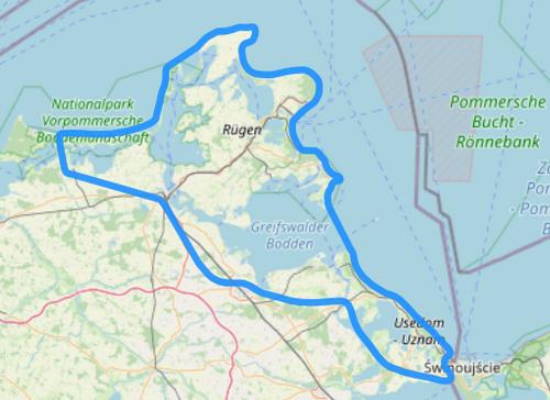 Route E Usedom Rügen Fischland