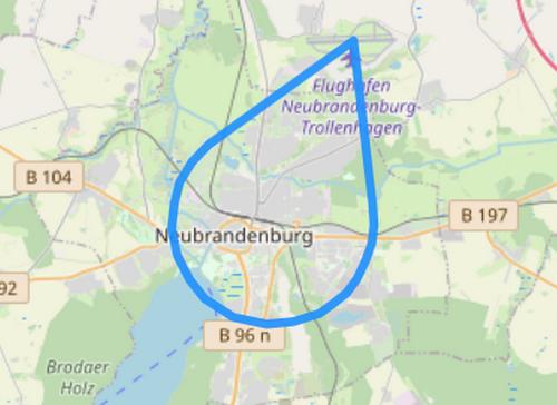 Route A über den Dächern von Neubrandenburg