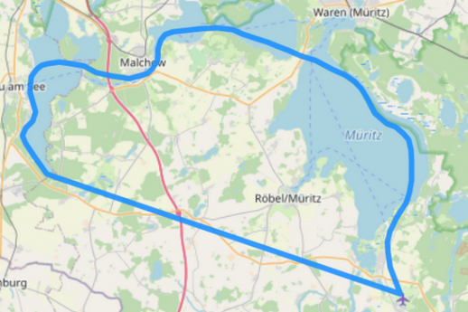Route C 5-Seen Rundflug über die Mecklenburger Seenplatte