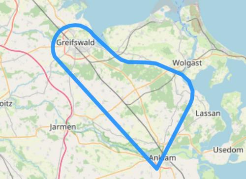 Route C über den Dächern von Greifswald