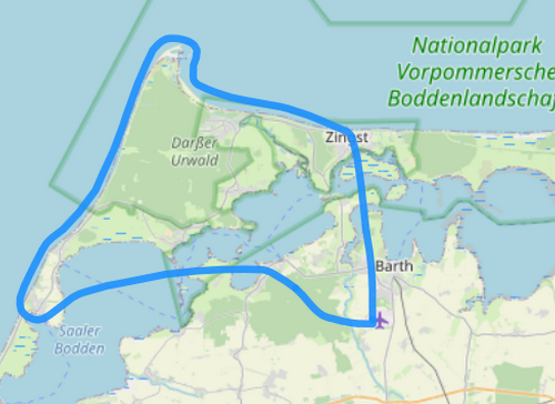 Hubschrauber Route B Barth Wustrow Darßer Ort