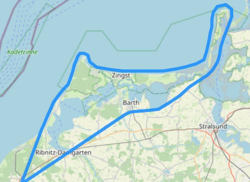 Hubschrauber Route E Hiddensee und Fischland